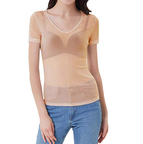 Women's Sexy Sheer Mesh Fishnet Net Short Sleeve T-Shirt Crop Top(Nude,XL)