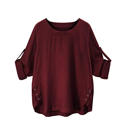 iTLOTL Ladies Solid Simple Casual Blouse Button Down Classic Tops(Wine ()