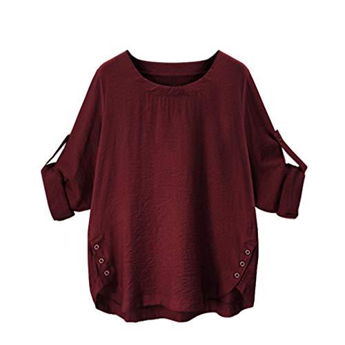 iTLOTL Women O Collar Loose Girl 3/4 Long Sleeve Autunm Plus Size Shirt (Wine Red,US-20/CN-4XL)