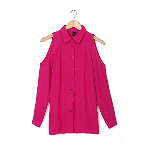 Elegante Scoperte Camicia Chiffon Lunga Spalle Casual T Ragazza Rosa op Blusa Estiva Manica Tumblr Moda Donna BienBien Sottile Maglie Shirt 0wzdnxq0f