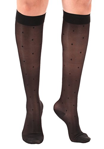 Sheer Dotted Woman's Knee-Hi Medium Support 15-20 mmHg-Black, Medium- Absolute Support - Made In USA- - Dotted Sheer