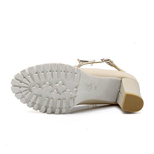 Amoonyfashion Womens Zacht Materiaal Gesp Rond Gesloten Teen Hoge Hakken Stevige Pumps-schoenen Beige