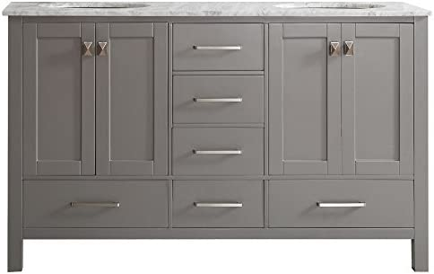 Vinnova 723060-GR-CA-NM Gela 60 Double Vanity in Grey with Carrera White Marble Top without Mirror