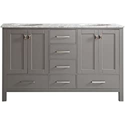 Vinnova 723060-GR-CA-NM Gela 60 inch Double Vanity In Grey with Carrera White Marble Top Without Mirror