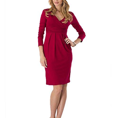 Engerla - Vestido - ajustado - Básico - Manga Larga - para mujer Rojo