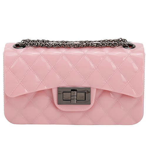 Lily Jane Quilted Pattern Jelly Flap-Top Twist Fastening Hard Outer Crossbody Chain Bag (Blush)