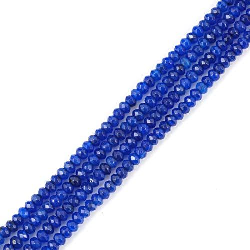 (2 Strands Natural Sapphire Blue Quartz Gemstone 4mm Rondelle Spacer Stone Beads 16