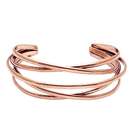 BEICHUANG Multi-layer Ancient Bronze Wire Cross Hollow Out Retro Ethnic Puck Adjustable Bangle Charm Bracelet (rose gold)