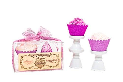 Raspberry Vanilla Cake - Large Cupcake Bath Bomb Set With Strawberry Cream & Black Raspberry Vanilla Scents by H2O Potions Sweet Indulgence