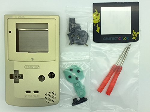 Gold Housing Cover - TBGS - Full Housing Shell Case Cover Replacement for Nintendo GBC Game Boy Color Limited Edition Gold