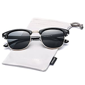 Retro Polarized Semi Rimless Clubmasters Sunglasses COASION Horn Rimmed Shades for Men Women