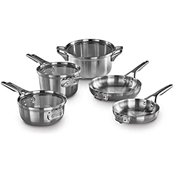 calphalon premier space saving 8 pc stainless steel cookware set kitchen dining. Black Bedroom Furniture Sets. Home Design Ideas