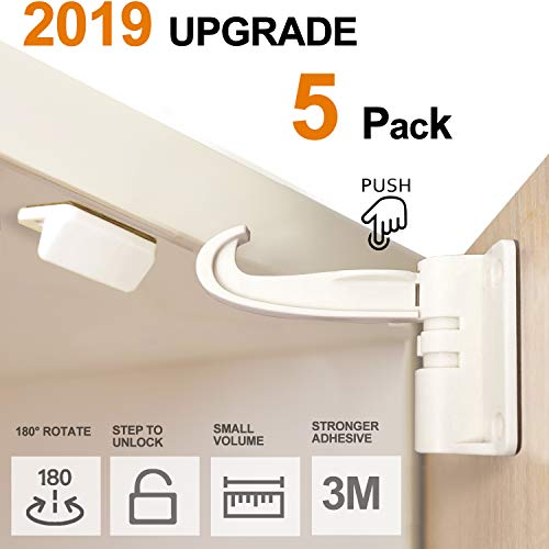5 Pack Newest Kitchen Cabinet Locks Child Safety Baby Proofing Cabinets Latches and Drawers, UPGRADED 3M Adhesives Installation without Drilling, Screws, No Key, White
