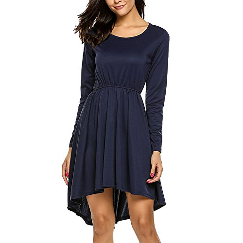 Long Sleeve Elastic High Waist Tunic Dress Women A Line O Neck Robe 2018 Autumn Dresses,Navy (Avalon 9 Drawer Dresser)