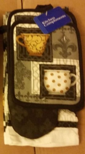 The Pecan Man Home Collection COFFEE CUPS by Franco Everyday Kitchen Set of 7 2 POT HOLDERS, 1 OVEN MITT,2 DISHCLOTHS & 2 TOWELS