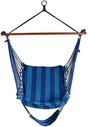 Sunnydaze Hanging Hammock Chair Swing Soft Padded Cushion Hanging Chair Seat With Footrest For Backyard Patio 330 Pound Capacity Beach Oasis Sunnydaze Decor Garden Outdoor Amazon Com