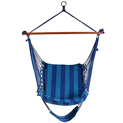 Soft Comfort Hammock Swing Hanging - Sunnydaze Hanging Hammock Chair Swing with Footrest, Padded Soft Cushions, Indoor/Outdoor, 330 Pound Capacity, Beach Oasis