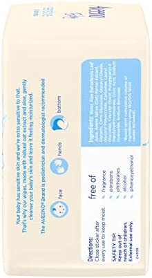 41Pn5scpsjL. AC - Aveeno Baby Sensitive All Over Wipes With Aloe & Natural Oat Extract For Face, Bottom & Hands, PH-Balanced, Hypoallergenic, Fragrance-, Phthalate-, Alcohol- & Paraben-Free, 3 Pks Of 56 Ct