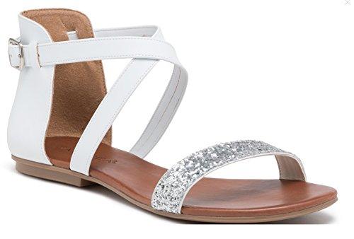 Andrea Flat Ankle White Strap Sandal Sparky Cross Andrea Sparky Brilliantine Brilliantine grwZgx6Hq