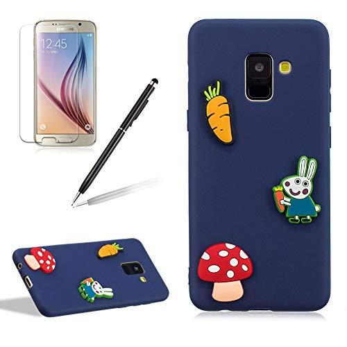 Phone Case Galaxy A8 2018,Cute Animal Rabbit Carrot Design Ultra Slim Soft Durable Shockproof Candy Colour Silicone Gel Back Cover Samsung Galaxy A8 2018,Dark Blue ()