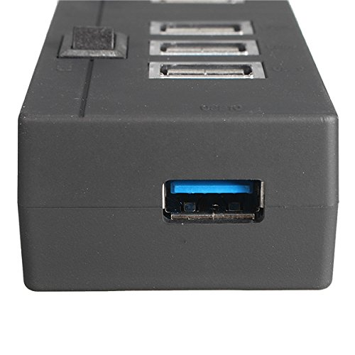 New 10 Port USB 3.0 Hub 5Gbps High Speed LED Switches Adapter
