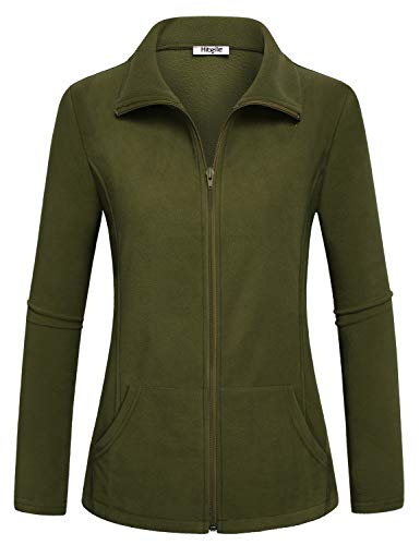Hibelle Warm Up Jacket Women, Winter Comfy Midweight Microfleece Coat Zipped Up Collared Polar Heated Designed Tops Handy Pockets Relaxed Fit Track Walking Shirts Army Green Large