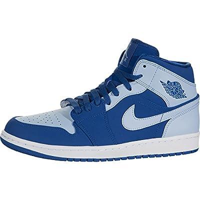 Jordan Air 1 Mid Men's Shoes Team Royal/Ice Blue/White 554724-400 (9.5 D(M) US)