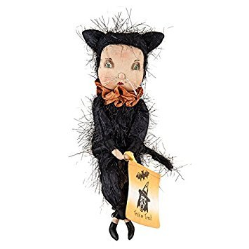 Halloween Trick Or Treaters (Holiday Decor Adeline Cat Girl Fabric Handcrafted Figurine with Intricate)