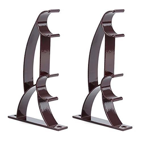 MINQISU Double Rod Holder Curtain Pole Bracket Heavy Duty Metal Aluminum Alloy 2 Pcs