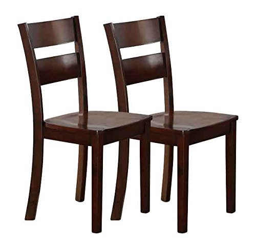 Dark Brown Side Chair - Kings Brand Dark Brown Finish Wood Dining Kitchen Side Chairs, Set of 2