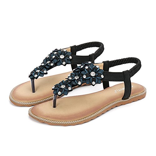 para Mujer para Sandalias El Bohemia Fashion Fiesta Negro Día Toe Calzado Plano De Slip Chanclas Clip 5YqTRq