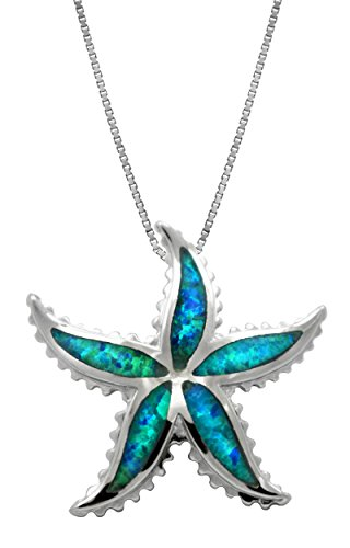 Sterling Silver Starfish Necklace Pendant with Simulated Blue Opal and 18