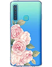 Oihxse Case Transparente Suave TPU Compatible con Samsung Galaxy A40 Funda [Lindo Caricatura Flor Serie Dibujos] Cristal Protector Carcasa Anti Rasguños Bumper Cover-Rosa Rosa