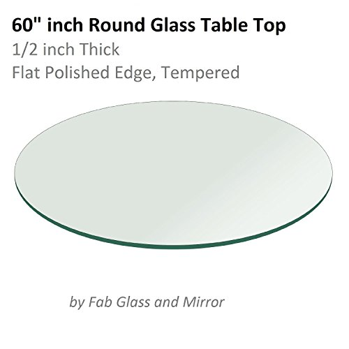 """41Pn6rP%2Bl0L - Fab Glass and Mirror Table Top 1/2"""" Thick Flat Polished Tempered, Round, 60"""" L"""