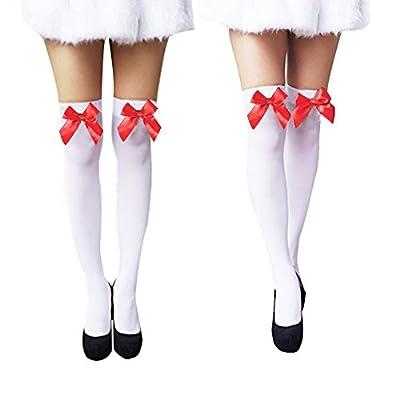 Women Trendy Sexy Velvet Bow Knee High Hosiery Thigh High Silk Stockings 2 Pairs
