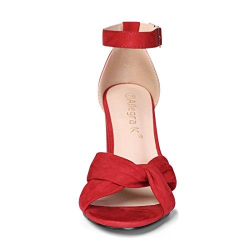 Rosso Tacco Spillo a 7 alla Caviglia Donne US Cinturino Allegra Annodato Anteriore K Sandali qwEPWWOAI