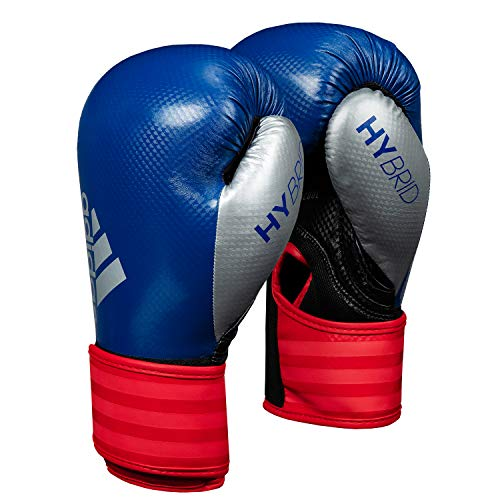 adidas Hybrid 75 Boxing Gloves, Blue/Red, 14 oz