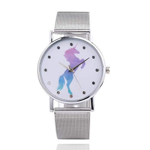 All Kinds Horse Pattern Dream Wristwatch For Women Girls Silver Mesh Strap Quartz Watch Casual 4020