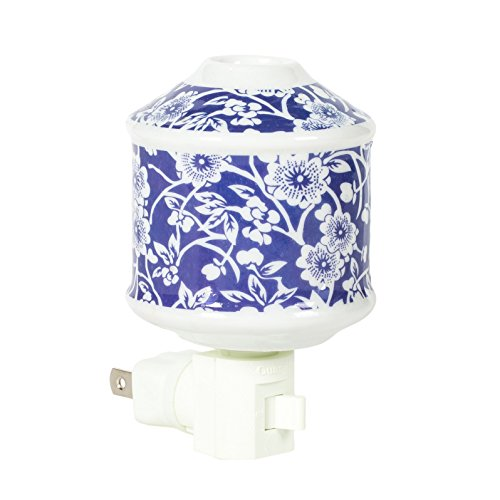 (Blue Floral Vintage 2.5 x 4 Oil Diffusing Electric Wall Plug-In Night Light)