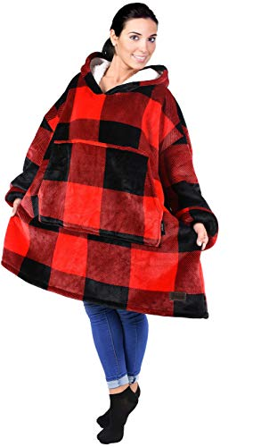 (Catalonia Oversized Sherpa Hoodie Sweatshirt Blanket,Super Soft Warm Comfortable Giant Hoody with Large Front Pocket,for Adults Men Women Teenage Red Plaid)