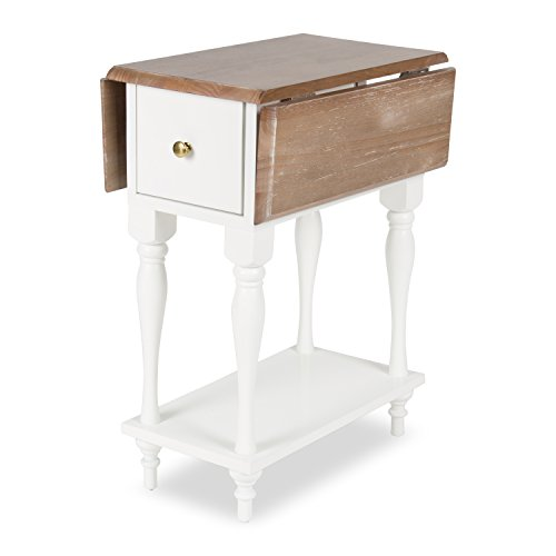 Contemporary Drop Leaf Leg (Kate and Laurel Sophia Rustic Wood Top Drop Leaf End Table with 2 Drawers and a Shelf, White)