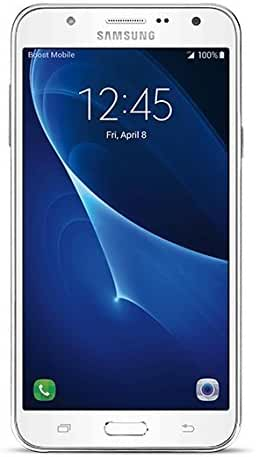 Samsung Galaxy J7 No Contract Phone,  16GB ROM / 2GB RAM, 5.5 Inch - White - (Boost Mobile)