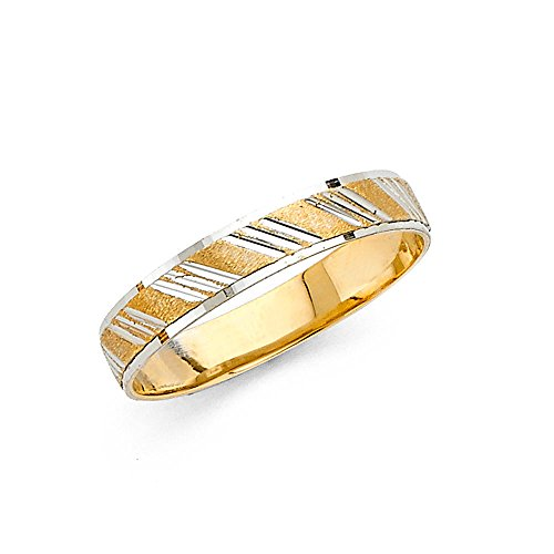 Ioka - 14K Two Tone Solid Gold 4mm Diamond Cut Striped Wedding Band - Size 4