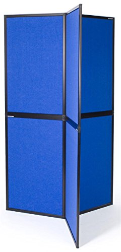 Displays2go 6-Panel Exhibition Display for Trade Show, 360 Degee Tri-Panel Stand - Blue Velcro Receptive Fabric (6PNLBU)
