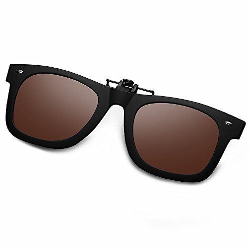 WELUK Polarized Clip On Flip Ups Sunglasses Wayfarer Style TR90 Frame UV400 Driving (Brown, - Gif Sunglasses