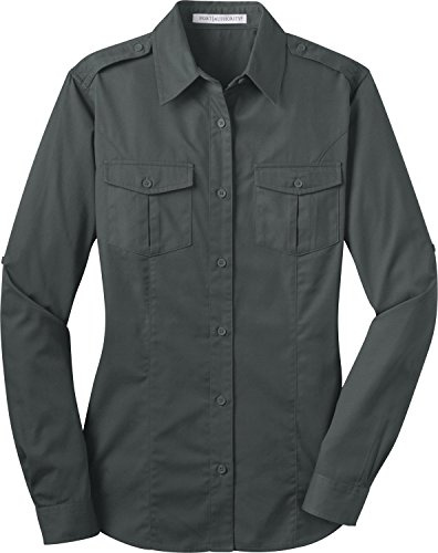 Port Authority - Ladies Stain-Resistant Roll Sleeve Twill Shirt-S (Steel Grey) ()