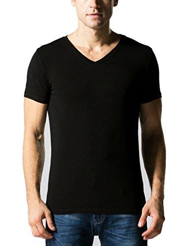 Liang Rou Men's Modal-Spandex Ribbed Stretch V-Neck T-Shirts