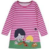 Fashspo Girls Cotton Long Sleeve Casual Cartoon Snails Appliques Striped Jersey Dresses,4T