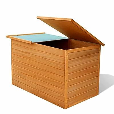 """Festnight Garden Storage Chest Box Fir Wood Outdoor Storage Organizer Cabinet Wooden Patio Waterproof Deck Boxes Patio Backyard Furniture Decor 49.6"""" x 28.3"""" x 28.3"""" (L x W x H)"""