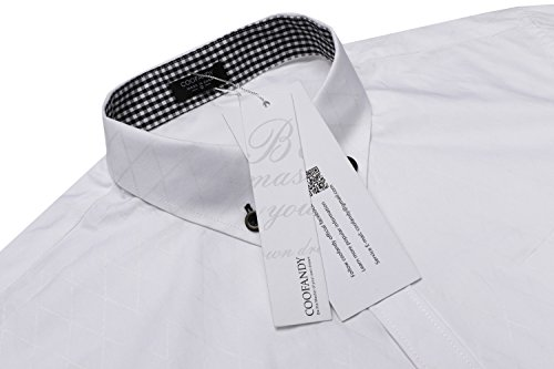 COOFANDY Men's Business Stylish Slim Fit Long Sleeve Casual Dress Shirt (L, White) by COOFANDY (Image #4)